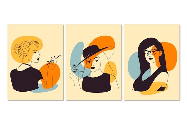 エレガントなラインアートスタイルの女性 無料ベクター