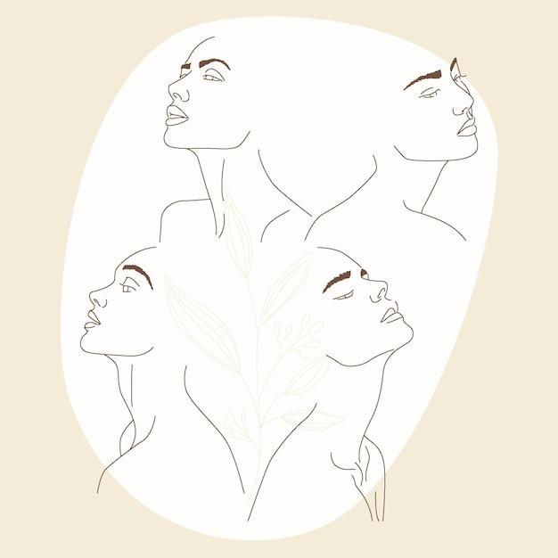 Женщины в элегантном стиле арт-линии Premium векторы