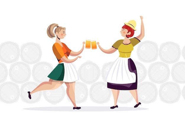 Женщины в традиционной одежде пьют пиво празднуют октоберфест друзья веселятся полная горизонтальная векторная иллюстрация Premium векторы