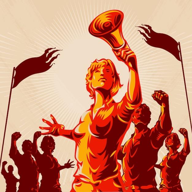 Women lead crowd protest illustration Premium Vector