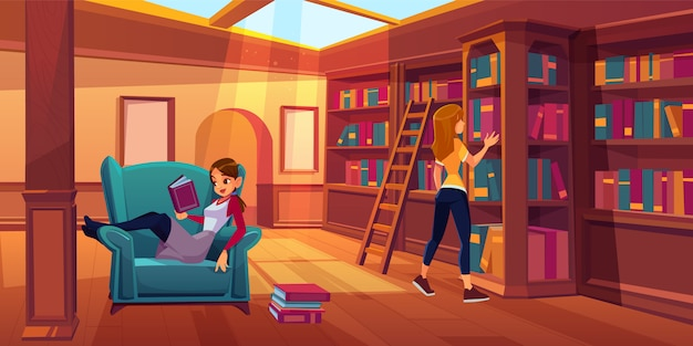 Women in library reading and searching books. Free Vector