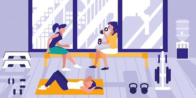 체육관에서 운동하는 여자 프리미엄 벡터