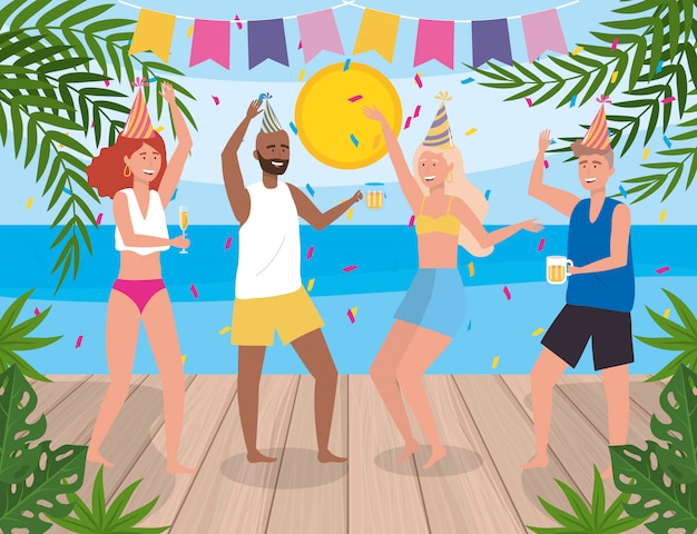 Women and men dancing in party and plants Free Vector
