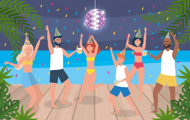 Women and men dancing with hat and confetti decoration Free Vector