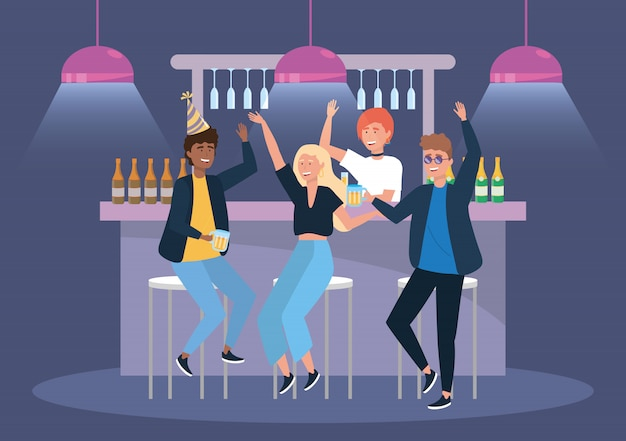 Women and men in the event with beer and champagne Free Vector