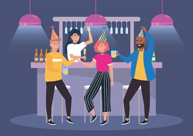 Women and men in the event with champagne and beer Free Vector