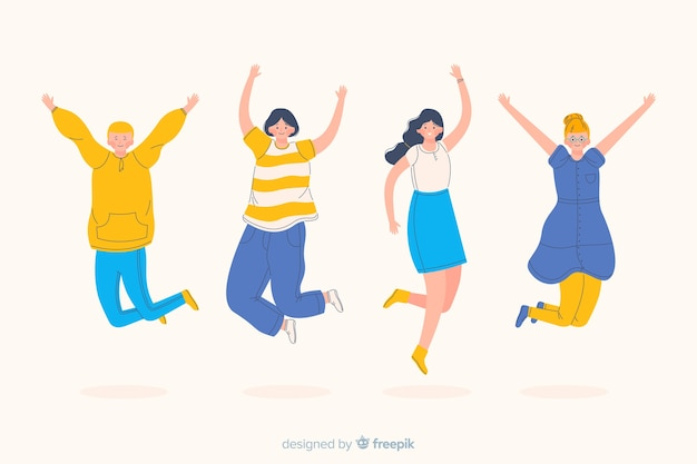 Women and men jumping and being happy Free Vector