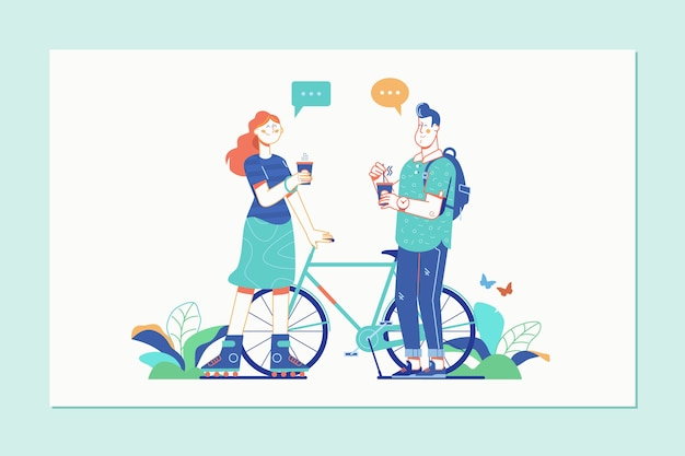 Women and men talking with coffee Premium Vector