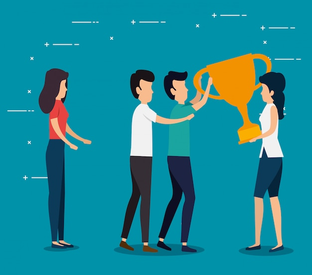Women and men teamwork with cup prize Free Vector