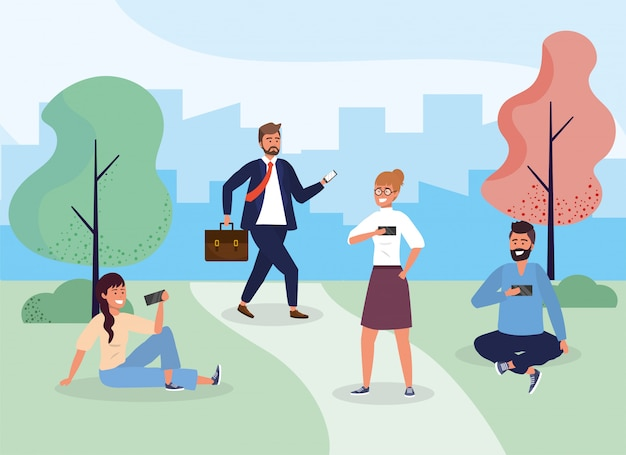 Women and men with hairstyle in the park with smartphone Premium Vector