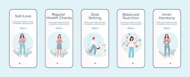 Women mental health onboarding mobile app screen flat template Premium Vector