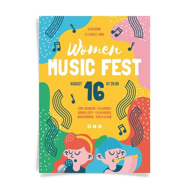 女性音楽祭ポスターデザイン 無料ベクター