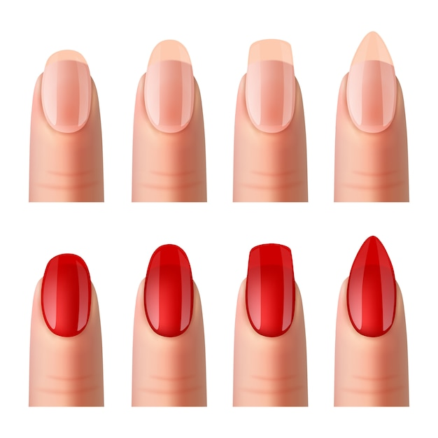 Women nails manicure realistic images  set Free Vector