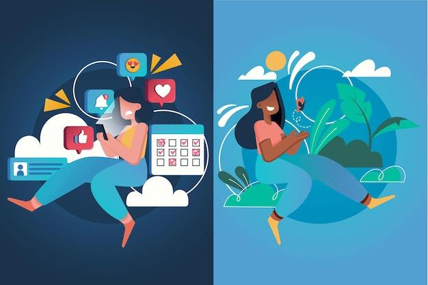 Женщины в социальных сетях и расслабляющая концепция фомо против джомо Бесплатные векторы