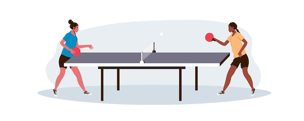 Women playing table tennis Free Vector