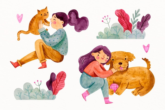 Women playing with their adorable pets Free Vector