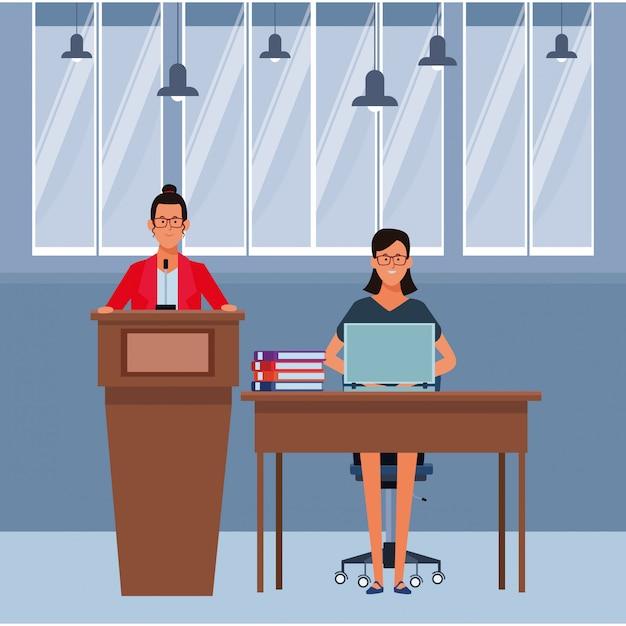 Women in a podium and office desk Premium Vector