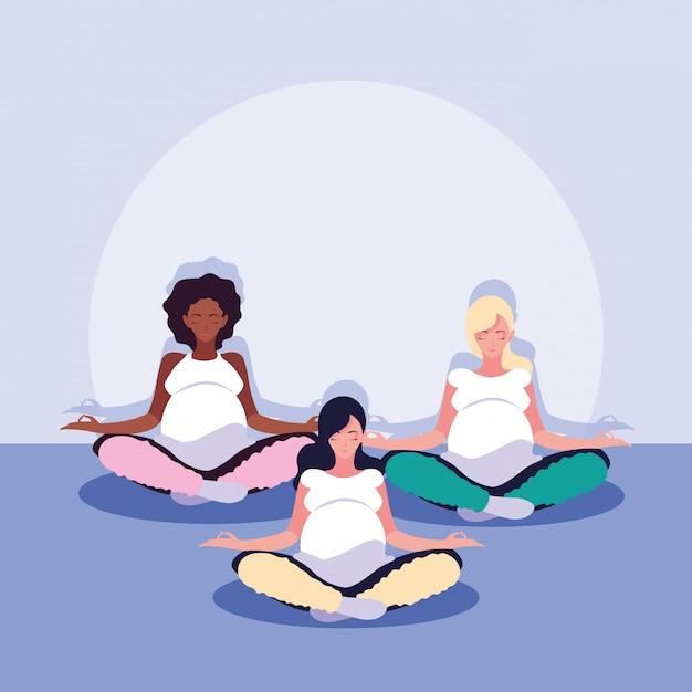 Women pregnant lotus position avatar character Premium Vector