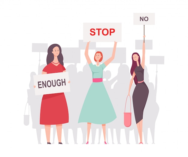 Women protesters with placards. vector cartoon flat illustration isolated on white background. Premium Vector