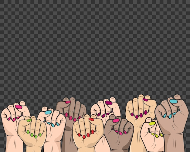Women raised their hands in the fight against the oppression of the rights of women and people Premium Vector