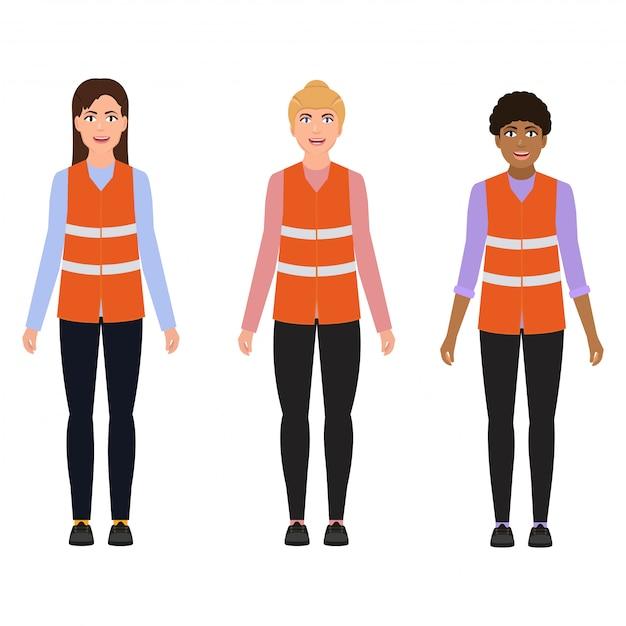Women in reflective vests Premium Vector