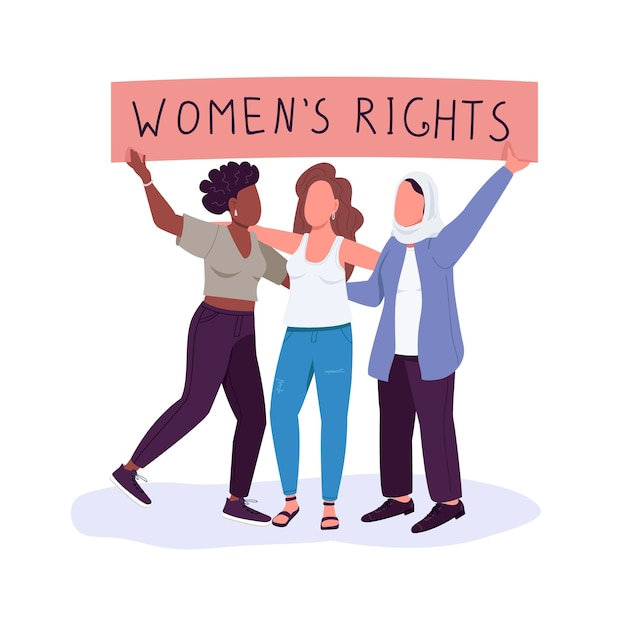Women rights flat color faceless characters. girls empowerment. free from discrimination. fighting for gender equality isolated cartoon illustration for web graphic design and animation Premium Vector