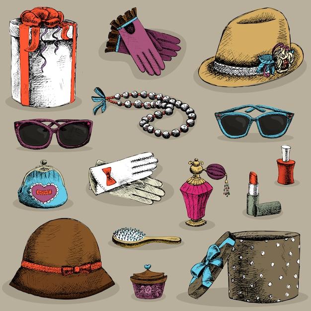 Women's accessories set Free Vector