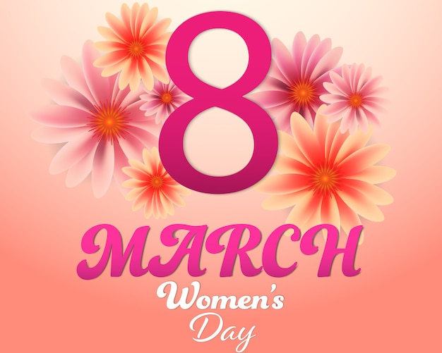 Women S Day 8 March And Flowers Background Vector Premium Download