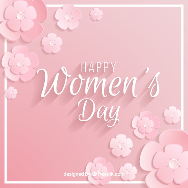 Women's day background in pastel pink Free Vector