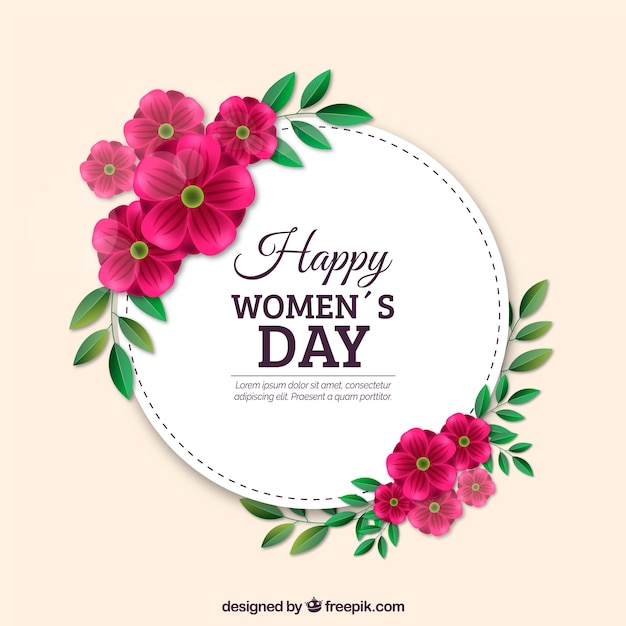 Women's day background in realistic style Free Vector