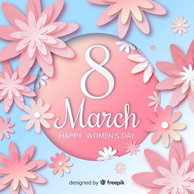 Women's day background in paper style Free Vector