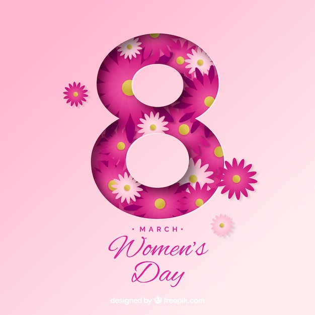 Women's day background in paper Free Vector