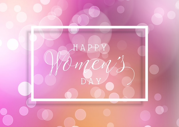 Women's Day background with bokeh lights Free Vector