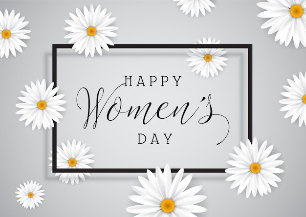 Women's Day background with daisies Free Vector