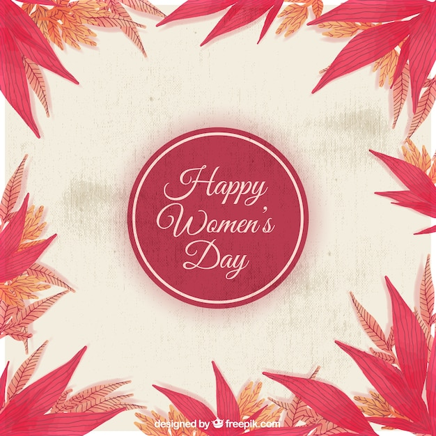 Women's day background with decorative leaves painted with watercolor