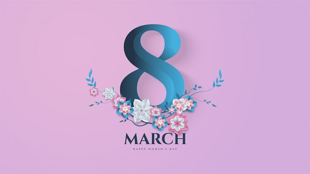 Women's day background with illustration number 8 and flowers branches and leaves. Premium Vector