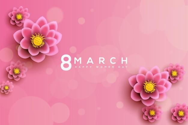 蓮の花と数字で女性の日の背景 Premiumベクター