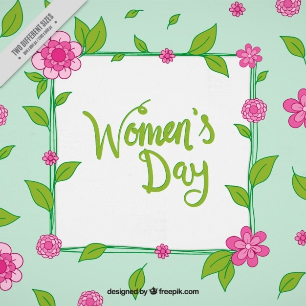 Women\'s day background with pink flowers and\ green leaves