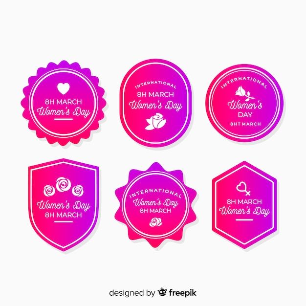 Women's day badge collection Free Vector