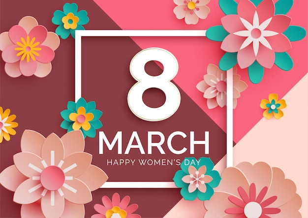 Women's day banner with 3d paper flowers Premium Vector