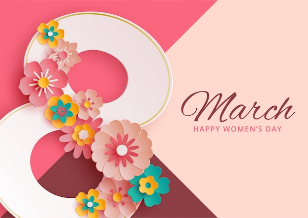Women's day banner with paper flowers Premium Vector
