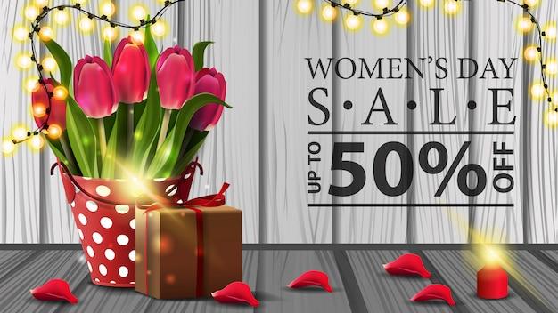 Women's day discount horizontal modern banner Premium Vector