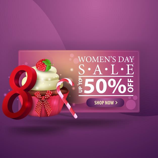 Women's day discount modern purple banner with cupcake Premium Vector