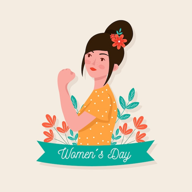 Women's day female with flowers in her hair Free Vector