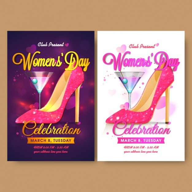 Women's day flyer template with cocktail and high heel Premium Vector