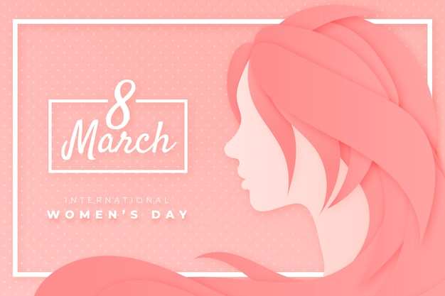 Women's day girl in paper style Free Vector