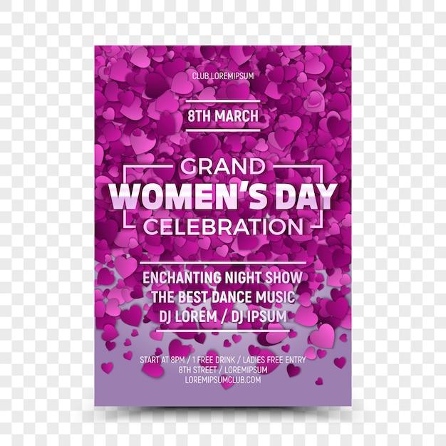 Women's day grand celebration flyer design template Premium Vector