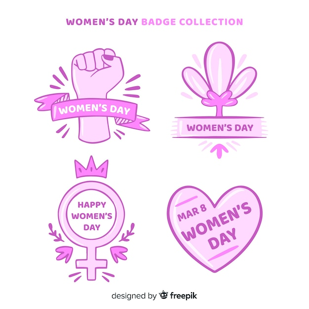 Women's day label collection Free Vector