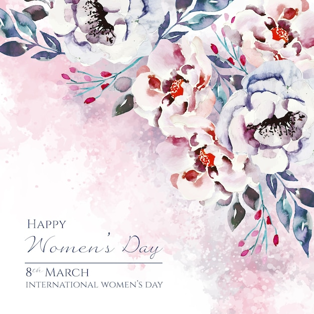 Women's day lettering with beautiful watercolor flowers Free Vector