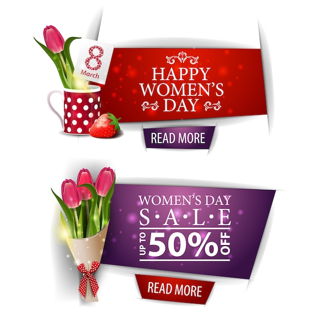 Women's day modern discount banner with bouquet of tulips Premium Vector